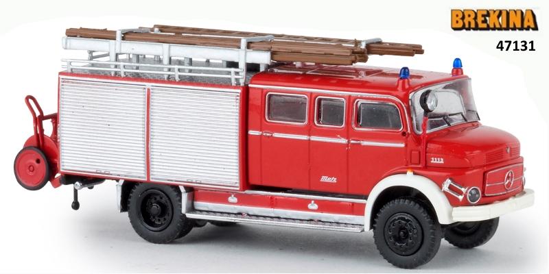 Brekina 47138 Mercedes LAF 1113 LF 16 Feuerwehr hellrot H0 weiss mit Rolläden