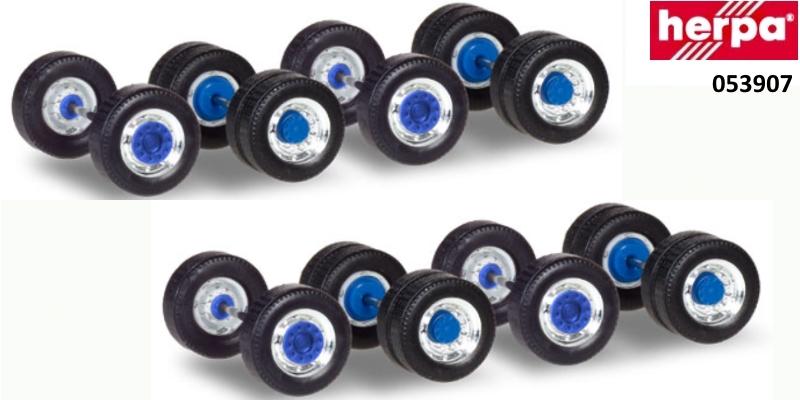 Herpa 053907 Radsätze für Zugmaschinen Breitreifen chrom//blau 5 Stück 1:87 Neu